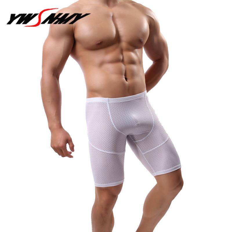 Mens Long Boxer Shorts Breathable Mesh Sexy Hollow Half-length Boxers Cotton Long Leg Underpants Sculpting Slip Panties 1pcs