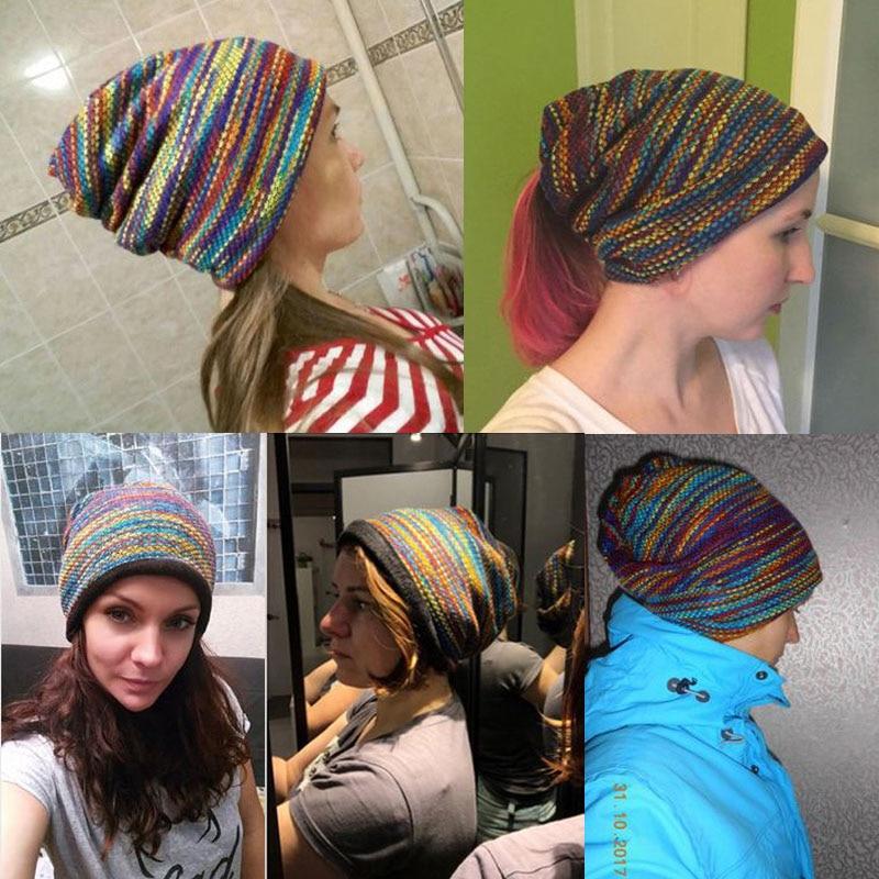 2eb5d59868d 2018 Winter Hats For Women Beanies Scarf Rainbow Hat Men Beanie Hip Hop  Warm Velvet Bonnet Femme Women Winter Beanies For Ladies-in Skullies    Beanies from ...