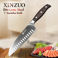 XINZUO 7 Inch Santoku Knife GERMAN DIN1 4416 Steel Kitchen Knife Very Sharp Japanese Style Chef