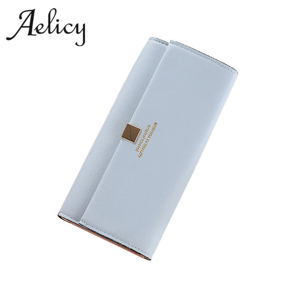 Aelicy High Quality Long Women Wallets Fashion Style Card Holder Synthetic Leather Clutch Bag Standard Hasp Money Coin Purse
