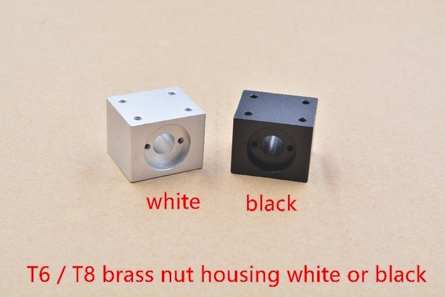 T8 trapezoidal screw nut housing white or black mounting bracket aluminum for T8 screw brass nut engraving machine T8 nut 1pcs