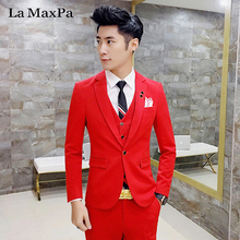 La MaxPa (jacket+pants+vest) Fashion model males go well with wedding ceremony go well with for man spring autumn informal slim male singer match gown go well with