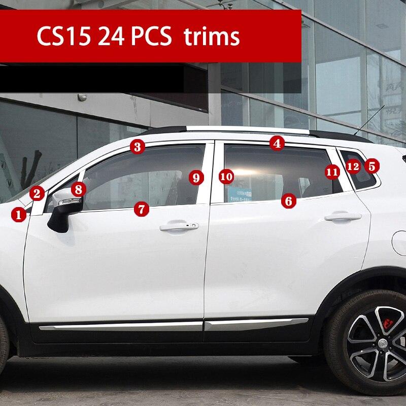 Lsrtw2017 304 en acier inoxydable voiture fenêtre garnitures pour changan cs15 2016 2017 2018 2019