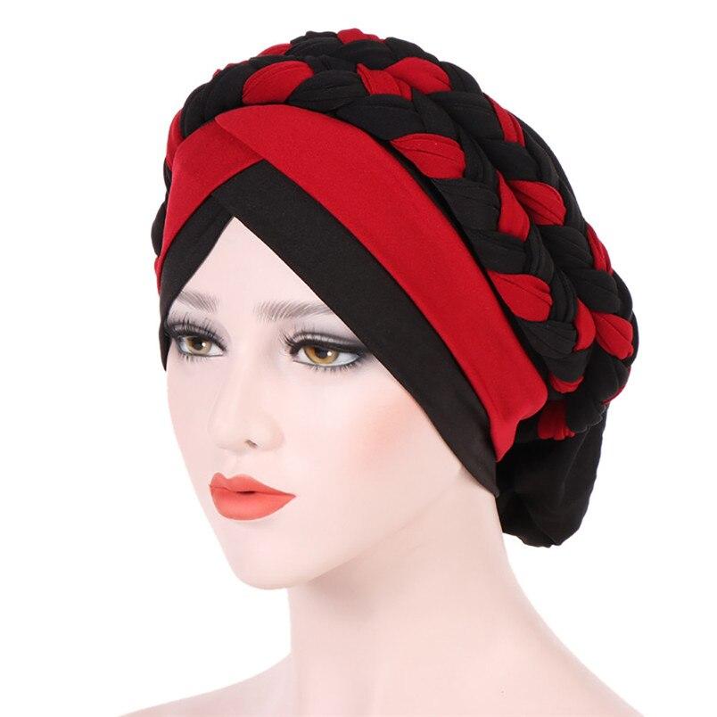 2018 Fashion New Women Hairbraid India Africa Muslim Stretch Turban Cotton Hair Loss Head Scarf Wrap Cap Casual Hot Sale #L26 (21)