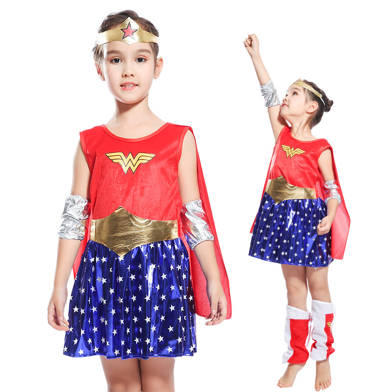 Child's Wonder Woman Costume Deluxe Toddler Girl's Super DC Heroes Cosplay Fancy Dress Halloween Costumes For Kids