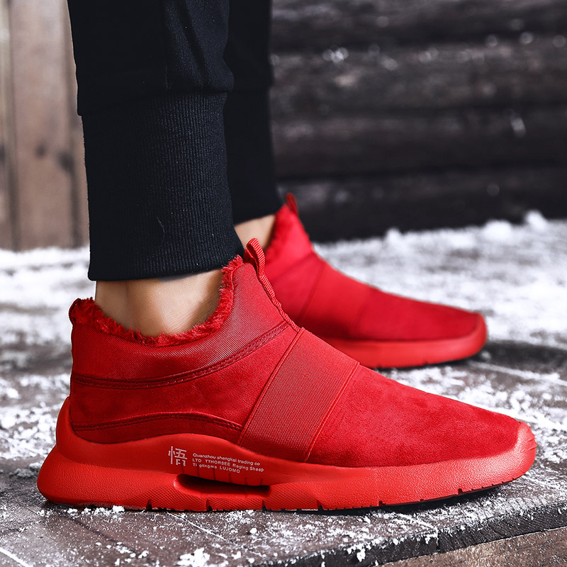 Warm Winter Mens Casual PU Leather Shoes with fur Low-Cut Large Size 39-47 Slip on Comfortable Men Shoes with Short Plush Red 3