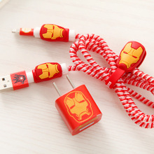 4sets/lot USB Cable Protector Set with Winder Cartoon stickers Spiral cord protector For iphone 5 6 7