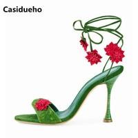 Casidueho на шнуровке Римские сандалии Женские свадебные туфли на высоком каблуке женщина Пикантные Туфли на высоких каблуках с открытыми паль