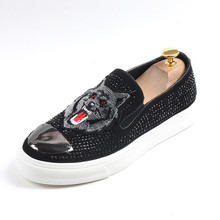 Men Loafer High Quality Rhinestone Shoes Casual Comfortable Slip On Flats 6#20D50