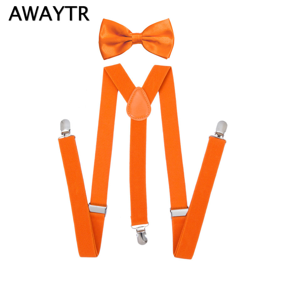 AWAYTR Orange Color Fashion Mens Bowtie Suspenders Set 2017 New 2.5*90cm Women Bow Tie Elastic Y-Back Suspender Brace Set