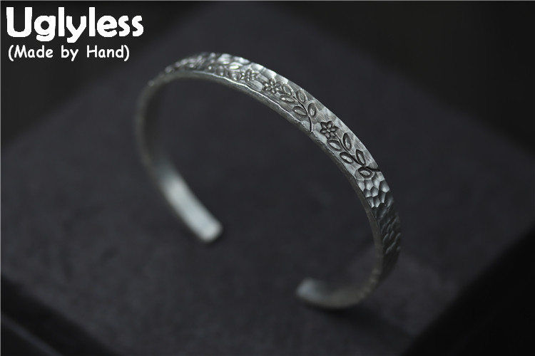 Uglyless Real S925 Sterling Silver Women Handmade Carved Plant Bangles Thai Silver Uneven Face Flat Bangle Leaves Flower JewelryUglyless Real S925 Sterling Silver Women Handmade Carved Plant Bangles Thai Silver Uneven Face Flat Bangle Leaves Flower Jewelry