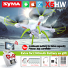 SYMA X5HW FPV RC Quadcopter Drone with WIFI Camera 2.4G 6-Axis VS Syma X5SW Upgrade RC Helicopter with 6 battery + 5 in 1 Cable