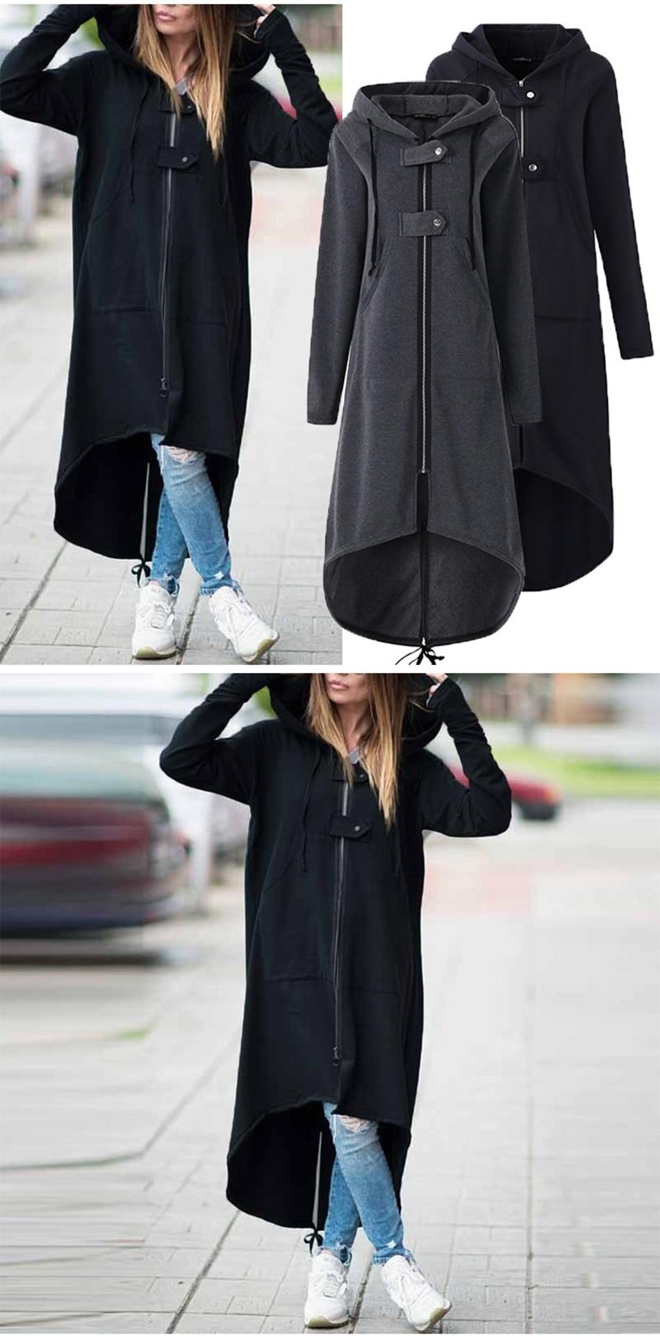 CROPKOP Fashion Long Sleeve Hooded Trench Coat 18 Autumn Black Zipper Plus Size 5XL Velvet Long Coat Women Overcoat Clothes 4