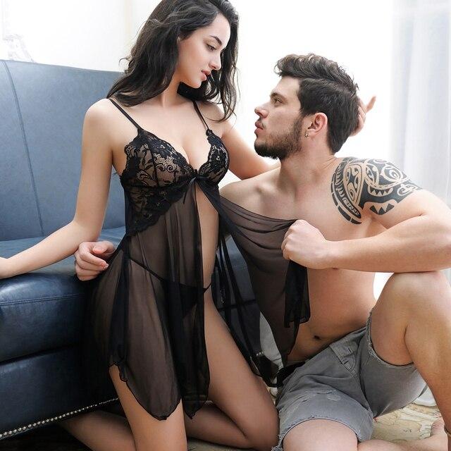 2017 Novo Estilo de Saia Chaves See-through Lace Sexy Pijama Escavar Camisola Lingerie Sexy Em Anexo Para O T-de volta