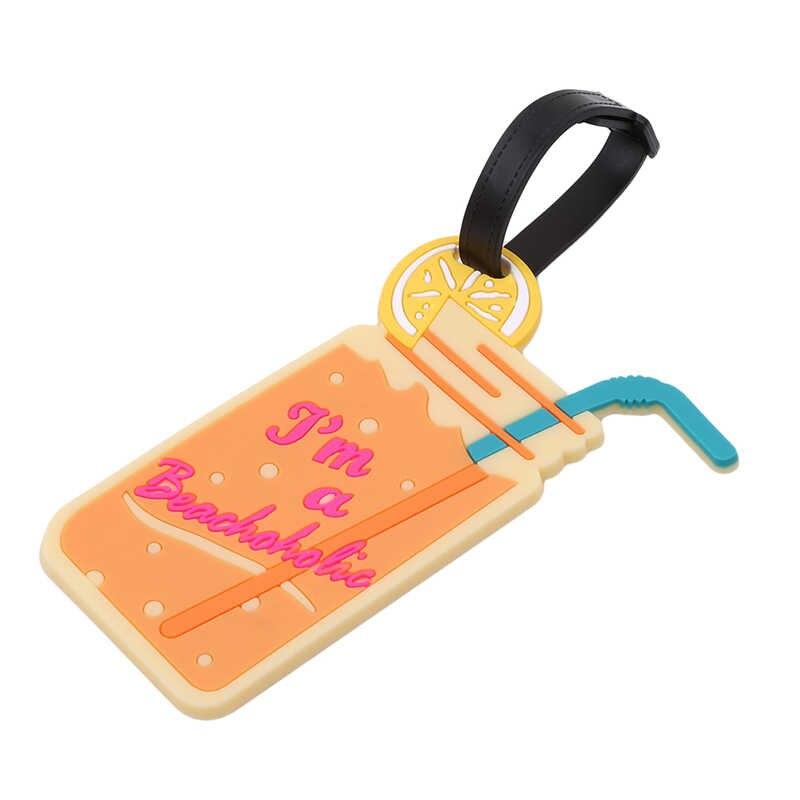 Kawaii пищевая бирка для чемодана, мультяшный держатель для ID адреса, силиконовая бирка для багажа, переносная этикетка, аксессуары для путешествий