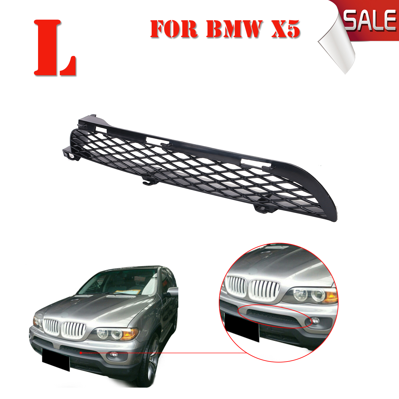 Left Side For BMW X5 E53 SUV Sprot LCI 2003 2006 Front Lower Bumper Mesh Grille Lattice Radiator Grill Cover #W122 L