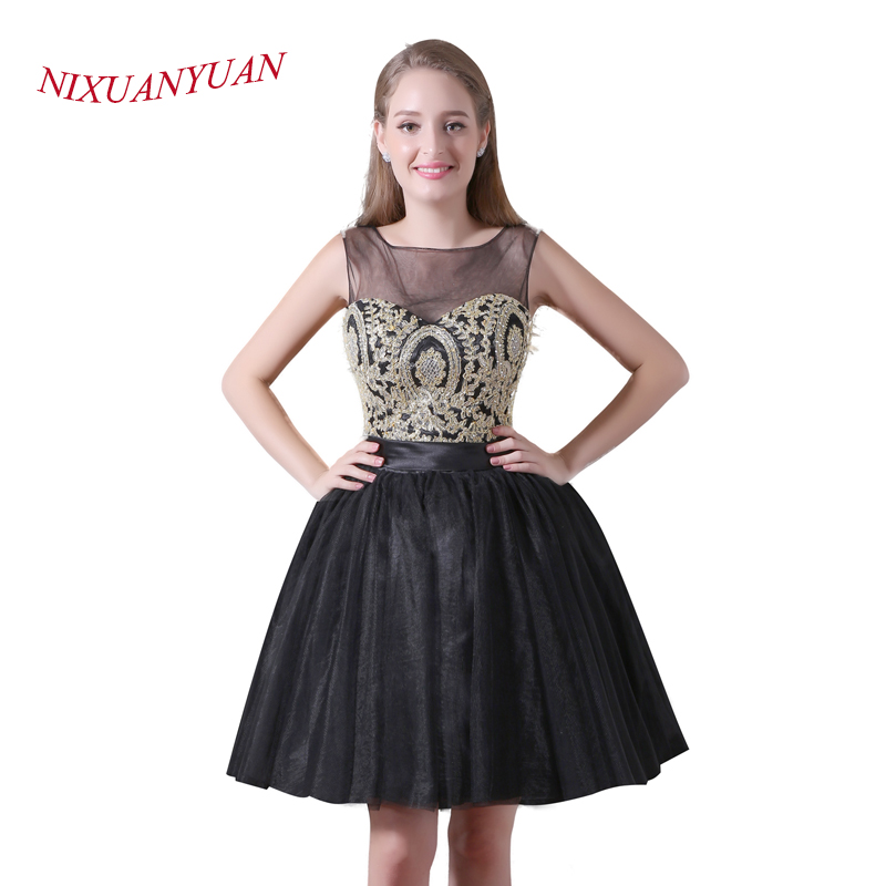 NIXUANYUAN 2017 New Design Black Tulle Party   Dress   Short Gold Appliques   Cocktail     Dresses   2017 Sexy vestidos de   cocktail   Real