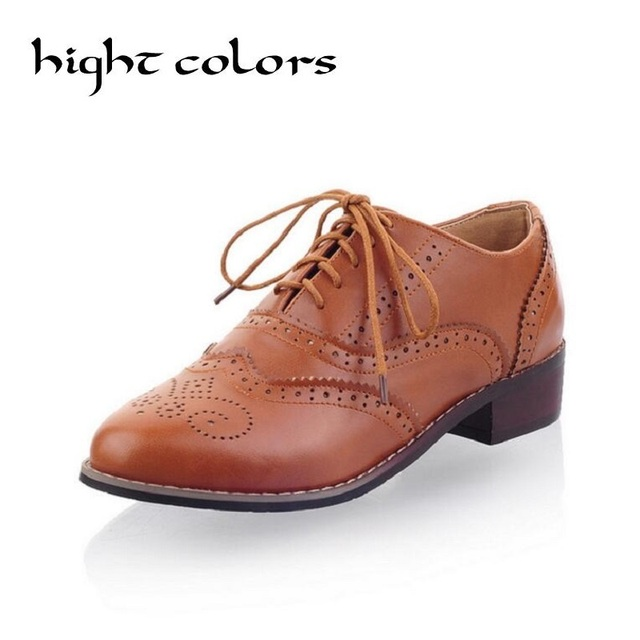Hot 2018 Womens Ladies Vogue Classic Round Toe Lace Up Low Heel Oxford  Brogue Shoes For