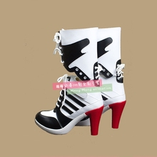 New Movie Suicide Squad Harley Quinn Cosplay Shoes Girls PU Leather Cosplay Boots High Heels Lace-up Halloween Shoes Size 35-44 batman suicide squad harley quinn movie cosplay costumes shoes boots high heels custom made for adult women halloween party