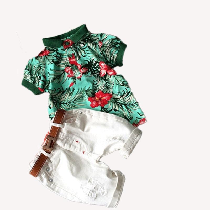 2016 New Summer Handsome Boy Clothing Sets Print Flowers Shirt White Pants Belt Fashion 3piece SET