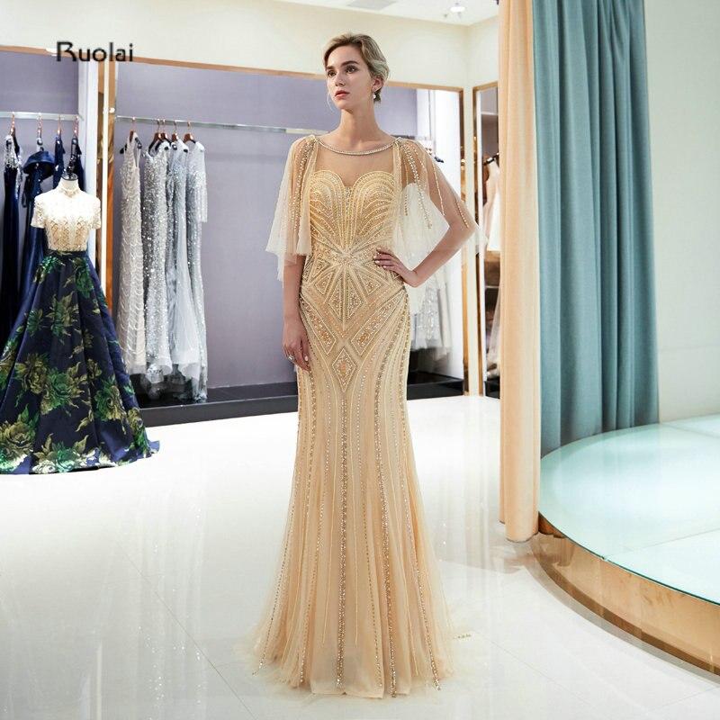 Robes de soirée de luxe sirène longue 2018 avec Cape perles lourdes robes de soirée arabes robes de soirée formelles robe de soirée