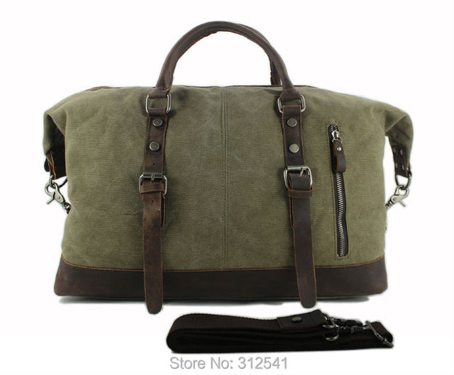 Vintage military Canvas Leather men travel bags Carry on Luggage bags Men Duffel bags travel tote large weekend Bag Overnight 1