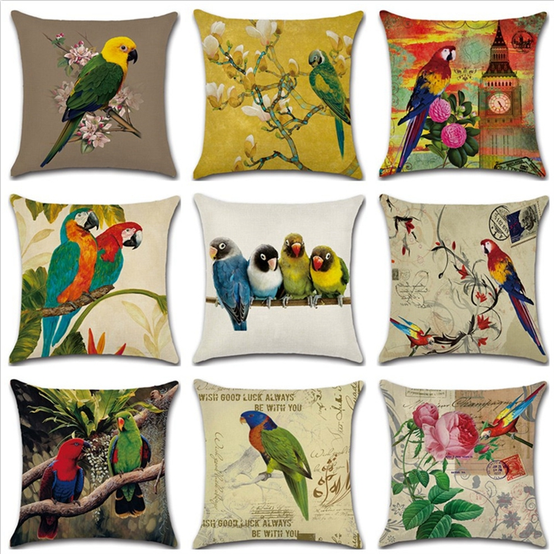 Home Decor Supplies Parrot Flowers&Birds Printed Decorative Square Sofa Bed Cushion Cover Car Throw Pillow Case House Decorbox