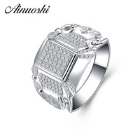 AINOUSHI Original 925 Sterling Silver Men Wedding Engagement Rings Sona High Quality Male Rings Anniversary Silver Jewelry Gifts