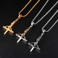 Fashion Stainless Steel Inverted Cross Jesus Pendant Necklace Lucifer Satan Worship Jewelry Chain For Men Women Anti-Christian
