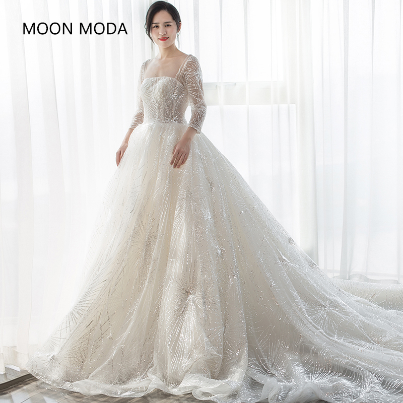 US $144.0 40% OFF|long sleeve wedding dress 2019 with bling plus size  weeding dress wedding gown real photo muslim vestido de noivva mariage-in  ...