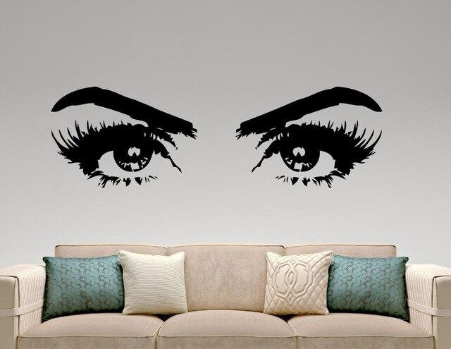 woman eyes vinyl wall stickers make up art fashion beauty salon