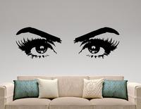 Woman Eyes Vinyl Wall Stickers Make Up Art Fashion Beauty Salon Decor Wall Decal Hot Selling Wallpaper Removable Mural SA464