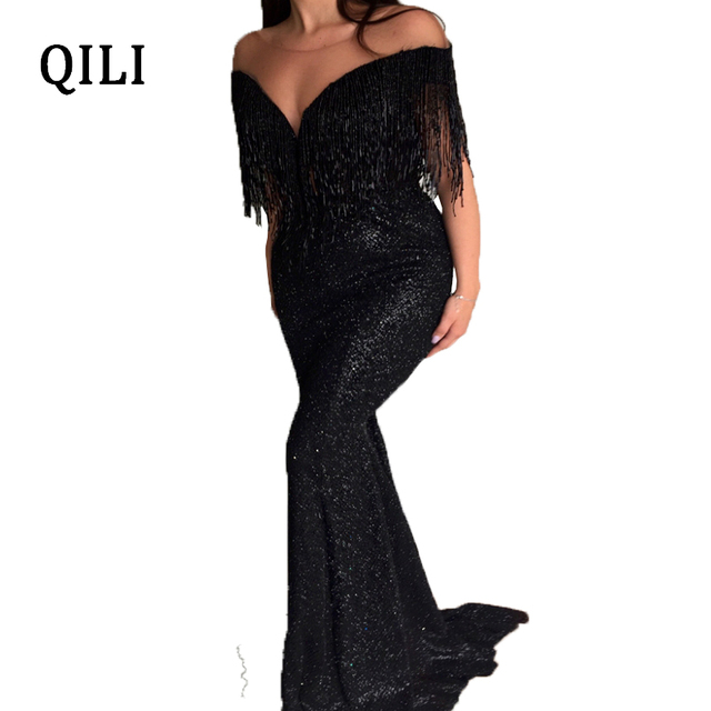 90117d416954cb QILI Sexy Off Shoulder Black Mermaid Dress Women Evening Party Dresses  V-neck Tassel Flash