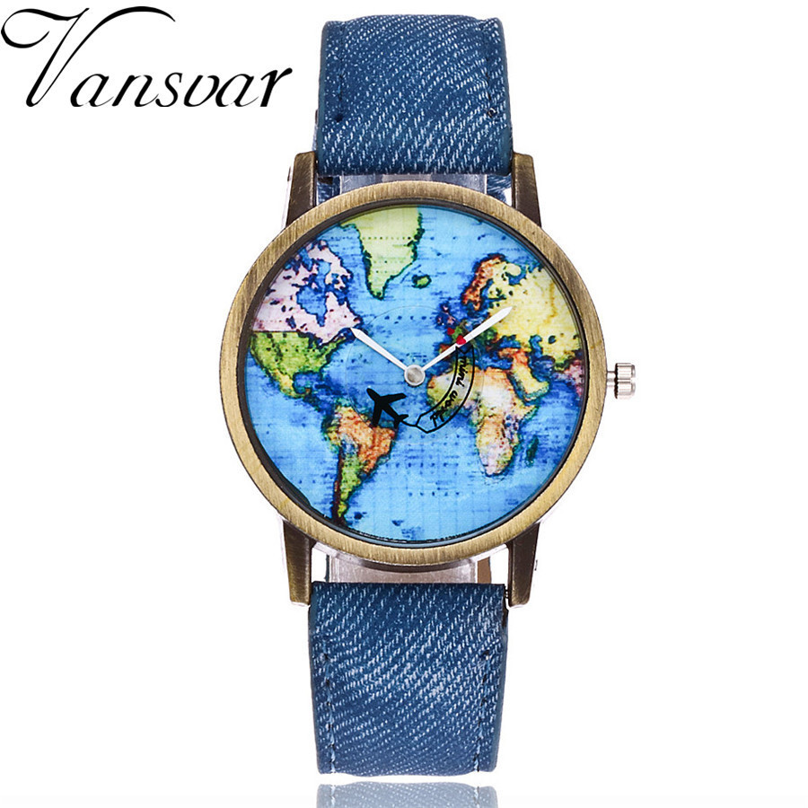 Vansvar Fashion Global Travel By Plane Map Denim Fabric Band Watch Casual Women Wristwatches Quartz Watch Relogio Feminino Gift maisy goes by plane