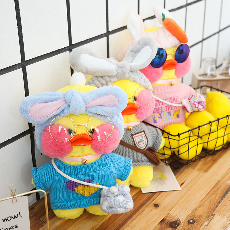 Kawaii Mini Cafe Yellow Duck Plush Toy Cartoon Cute Duck Stuffed Doll Soft Animal Dolls Girl Toys Birthday Gift For Children