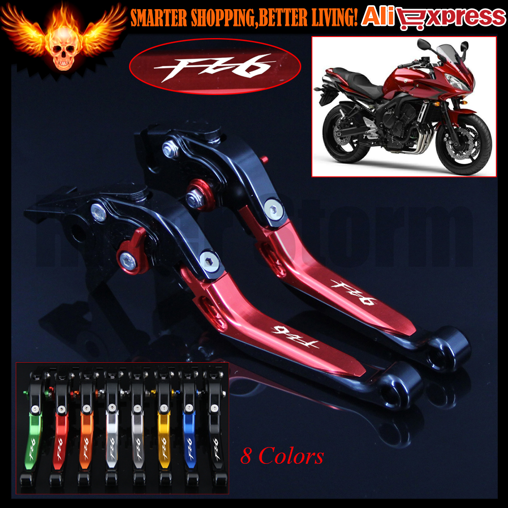 (Logo:FZ6) 8 Colors Red+Black CNC Adjustable Folding Extendable Motorcycle Brake Clutch Levers For Yamaha FZ6 FAZER 2004-2010 for ducati 848 evo 749 999 1098 1198 1199 899 panigale red motorcycle adjustable folding extendable brake clutch levers
