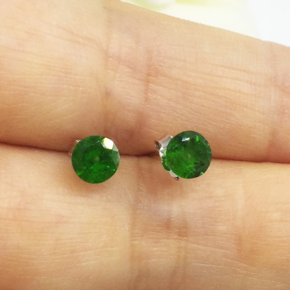 Natural Russia Emerald 925 Sterling Silver Green Diopside Women Earrings Jewelry Gem Valentine Gift Party Free Shipping
