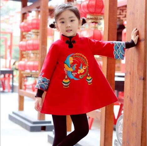 Baby Girl long-sleeved cheongsam dress Chinese style children's clothing 2018 winter fine embroidery new year red dress free shipping new red hot chinese style costume baby kid child girl cheongsam dress qipao ball gown princess girl veil dress