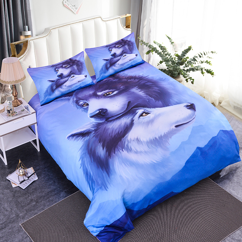 ZEIMON 3D Bedding Set Duvet Cover Bedclothes Pillow Printing Wolves Kiss twin Bed Set Animal Pattern Home TextilesZEIMON 3D Bedding Set Duvet Cover Bedclothes Pillow Printing Wolves Kiss twin Bed Set Animal Pattern Home Textiles