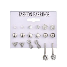 New Fashion Star Heart geometric Stud Earrings for Women Punk Crystal Set Party Jewelry