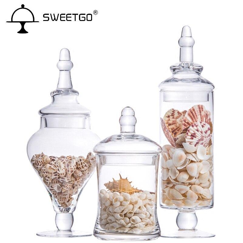 Very creative Transparent glass candy jar, Wedding desserts Display storage tanks 3PCS/Set