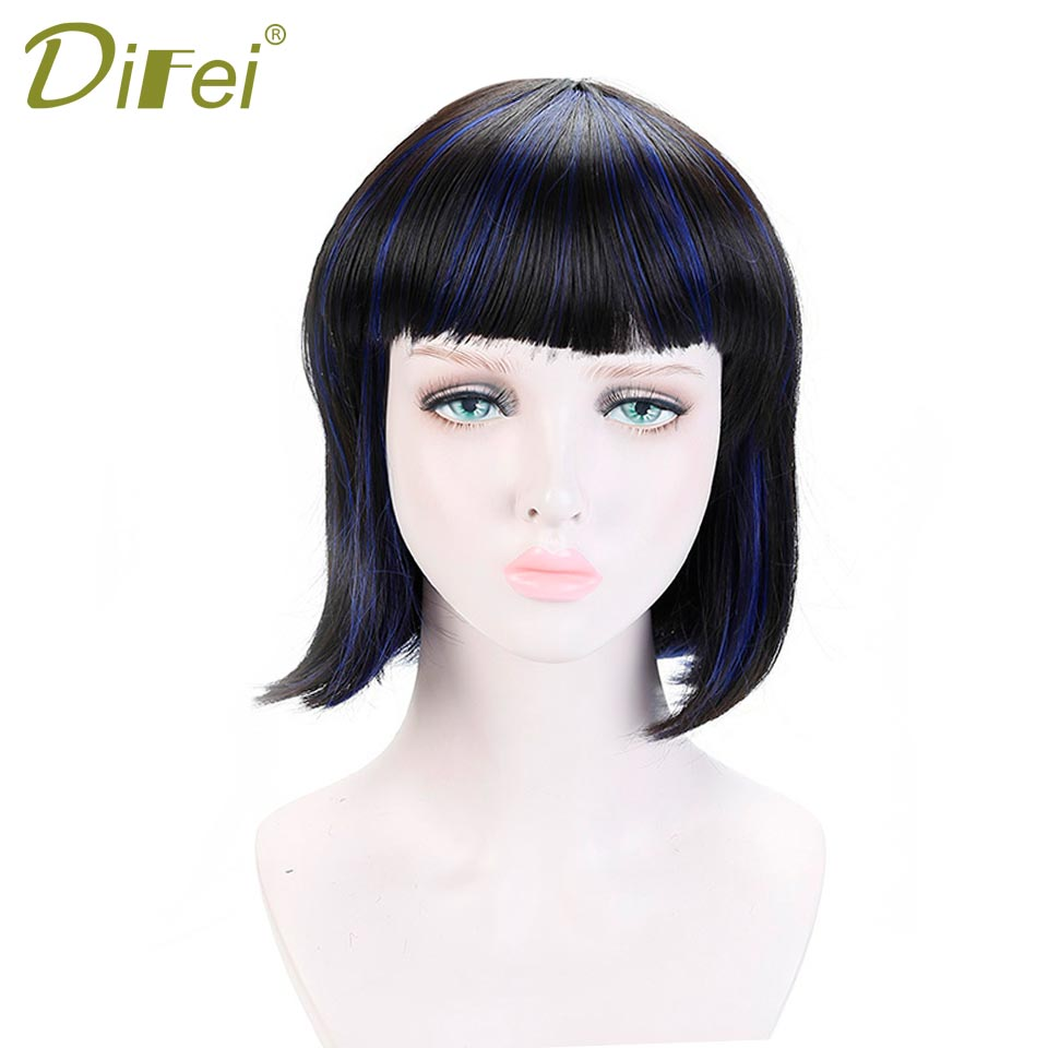 DIFEI Natural Short Straight Bob Wig Synthetic Hair For Women Dark Black 12 Heat Resistant Female Fake Hair with Bangs