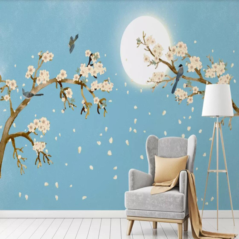 Factory direct Nordic dream hand-painted bird language floral romantic tree fashion background wall paper mural