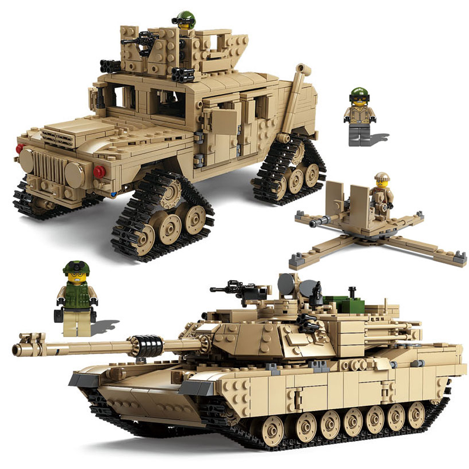 Kazi Military ABRAMS Tank Model figures weapon Building Blocks Compatible Legoed Bricks Technic Enlighten Toys For Children Kids kazi 228pcs military ship model building blocks kids toys imitation gun weapon equipment technic designer toys for kid