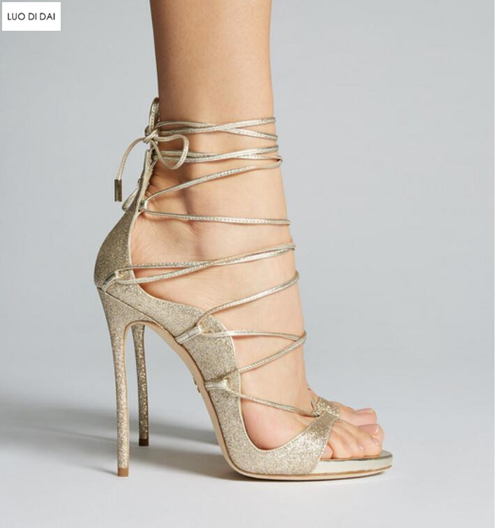2018 new women gold high heels party shoes summer gladiator sandals wedding shoes lace up high heels open toe sequin sandals luxury women shoes high heel sandals lace up heels open toe crystal embellishment laides party nude sandals fashion footwear