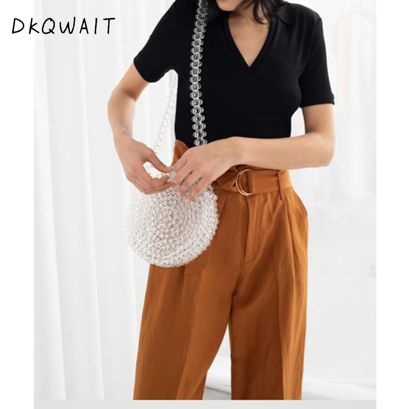 New 2019 Summer Fashion Women Pearl Beaded Diamond Evening Shoulder Crossbody Bag Round Ball Wrist Bag Clutch Purse and Handbag