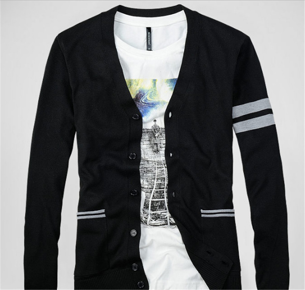 Mens Winter Cardigan Sweaters Jacket Striped Men Knitted Cardigans ...