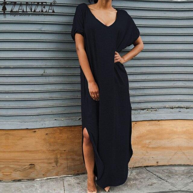 0e10a1fa3d ZANZEA Women Casual Loose Summer T-shirt Dress Sexy V neck Short Sleeve Side  Split Maxi Long Beach Dresses Plus Size Vestidos