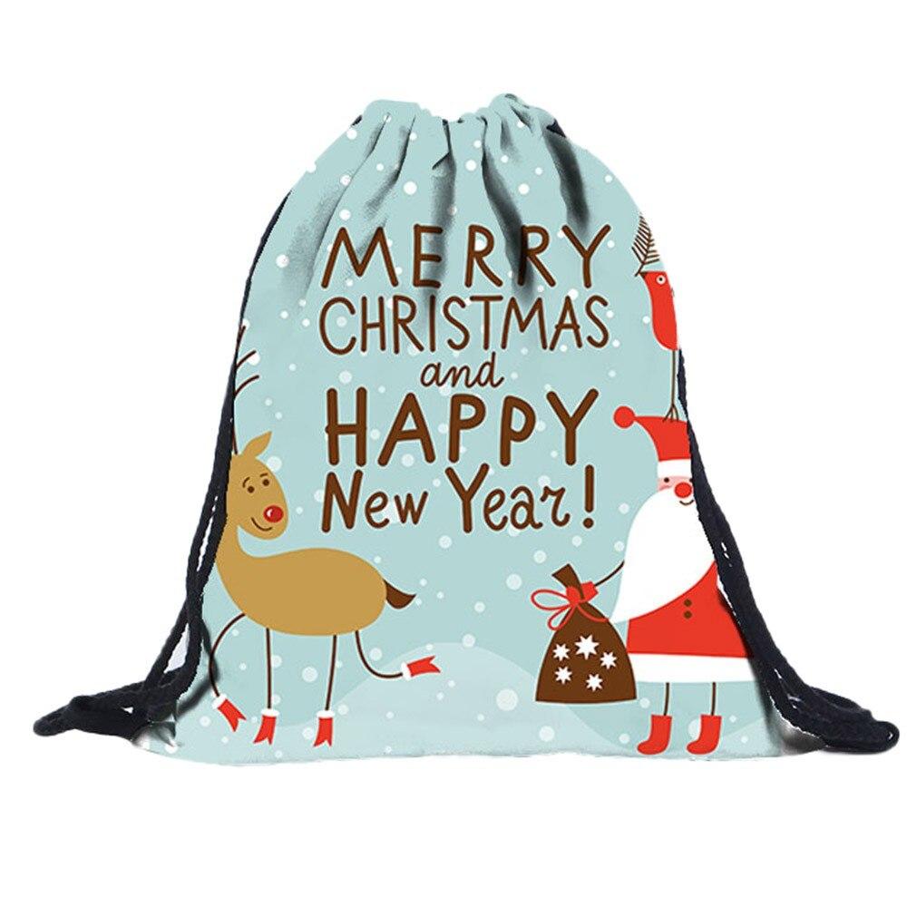 2018 Unisex 3d Digitaldruck Kordelzug Tasche Oxford Nicht-woven Taschen Schule Tasche Für Jugendliche Weihnachten Kordelzug Rucksack Fein Verarbeitet
