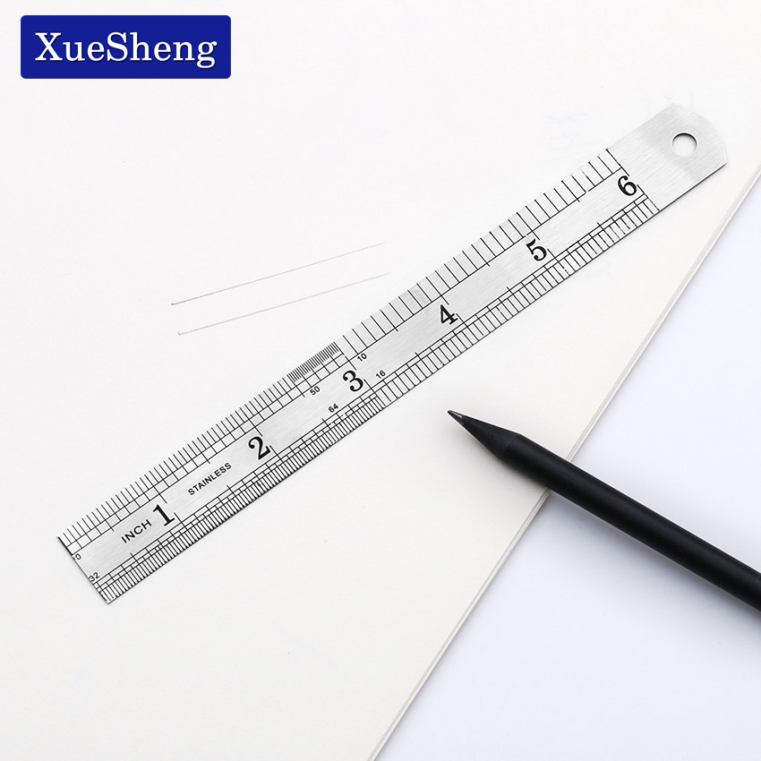 1PC Straight Ruler 15cm 6 Inch Double Side 15cm 6 Inch Stainless Steel Measuring Straight Ruler Tool Office Stationery